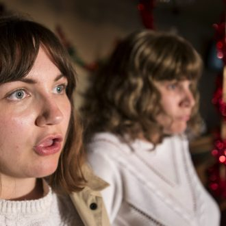 Black Teeth and a Brilliant Smile by Freedom Studios is directed by Kash Arshad and stars Emily Spowage as Andrea Dunbar (R) and Lucy Hird as the younger Andrea (L).